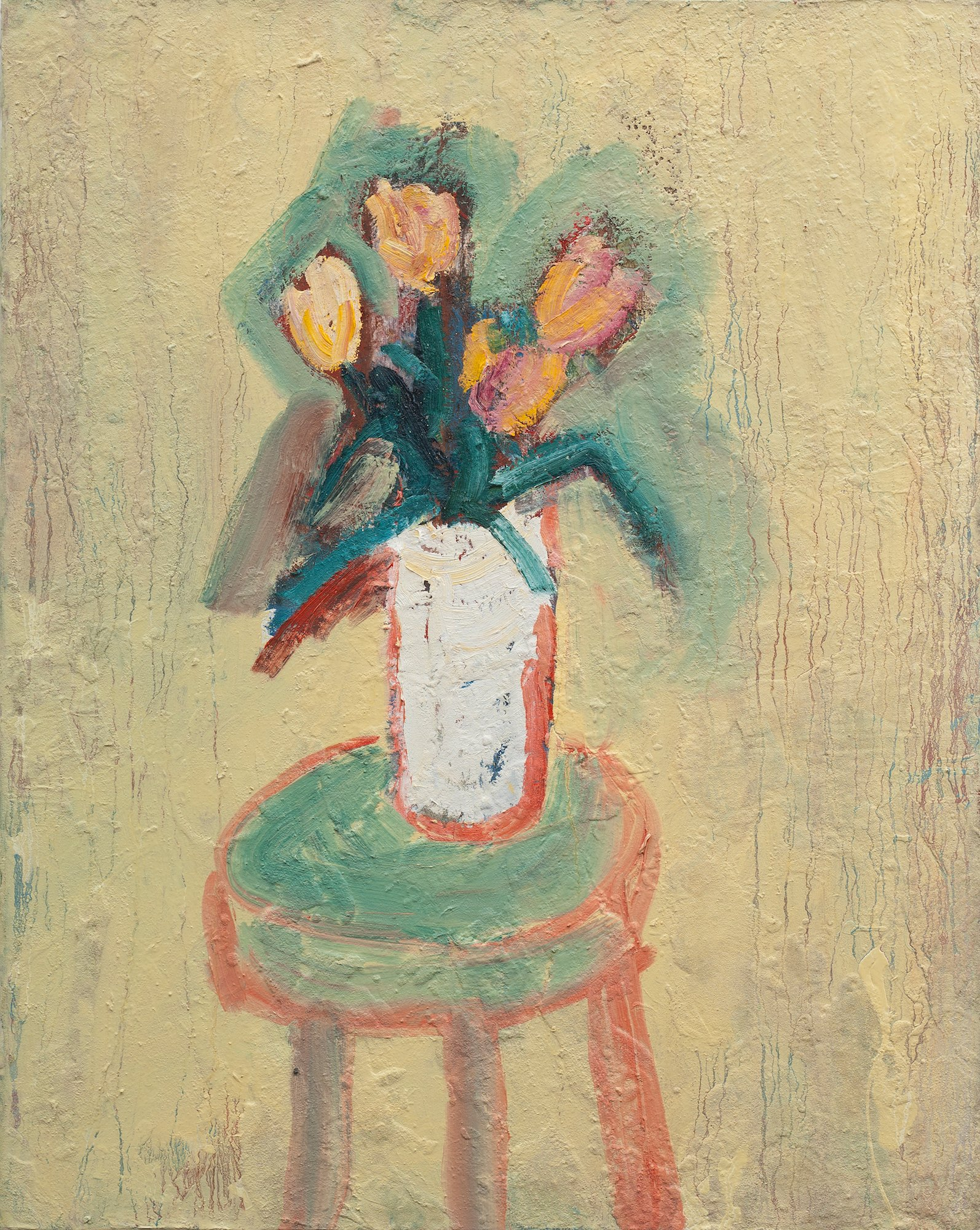 Tulips in White Vase on Stool