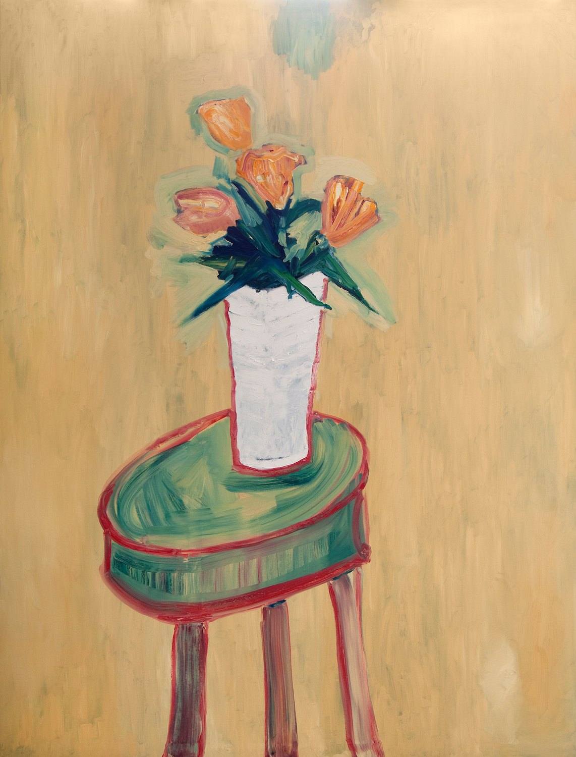 Large Tulips in White Vase on Stool